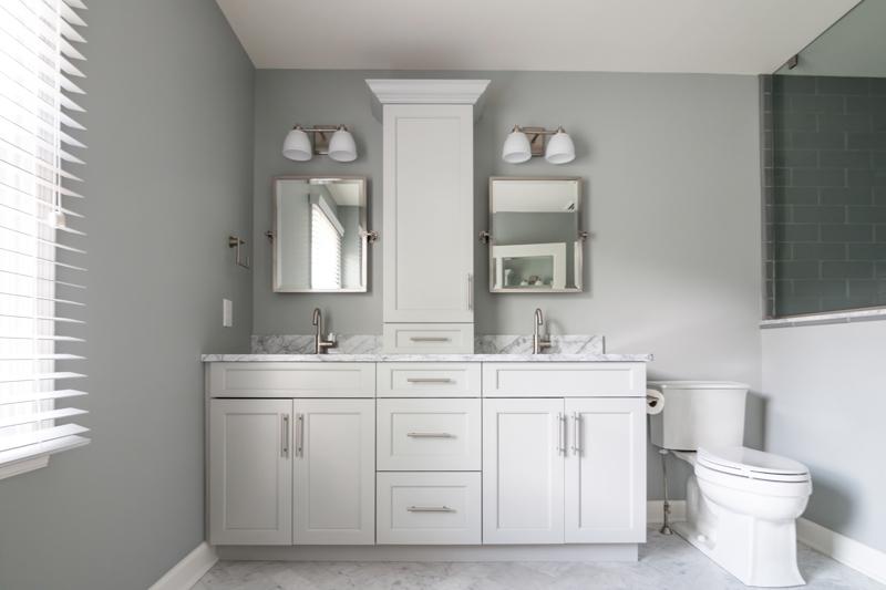 white, clean bathroom remodel