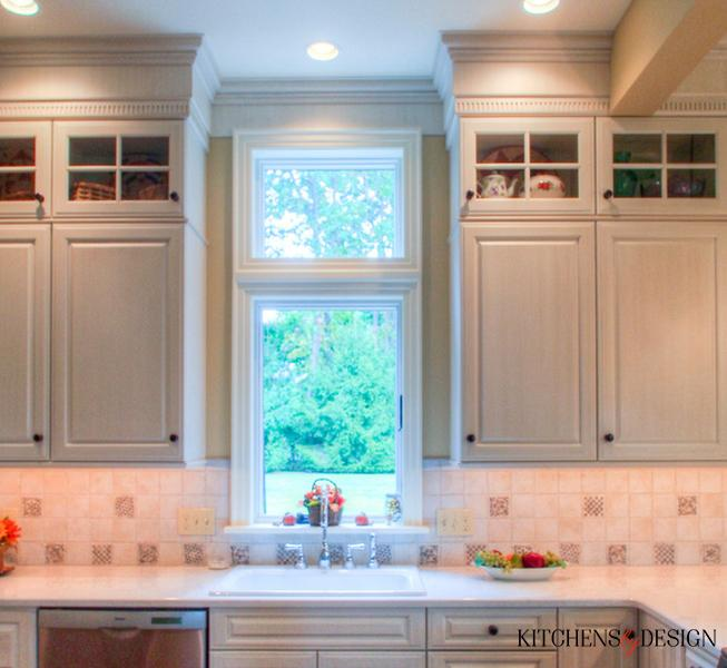 grey cabinets with decorative accents