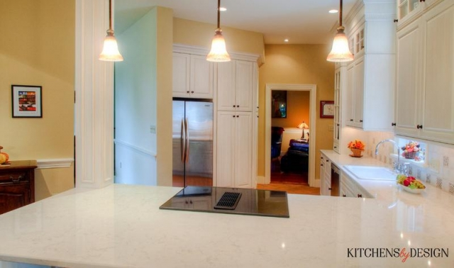 wide view of full classic look kitchen with custom details in lighting and backsplash