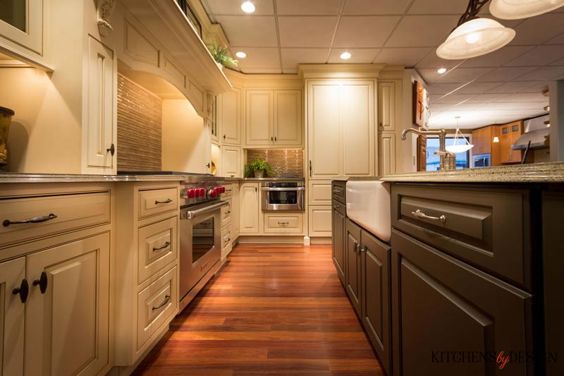 custom dark and light colored contrasting cabinetry