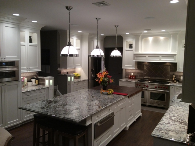 recessed lighting in kitchen with large island