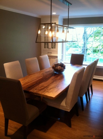 classic style dining room with custom lighting