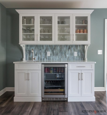 custom hutch-style built-in with sink and beverage refrigerator