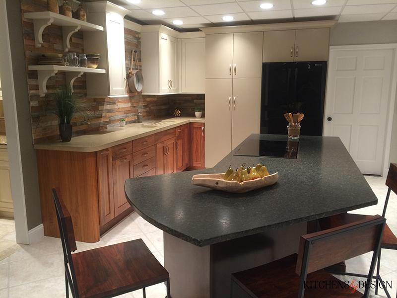 simple kitchen with custom island and wood colored accents