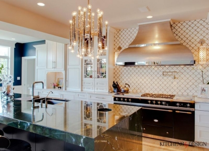 luxury kitchen with chef style stove & oven