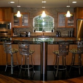 open kitchen design with dining island