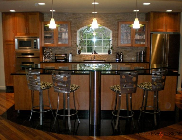 custom glass hi-top bar with bar stool seating in kitchen