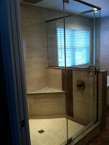 coffee color shower with corner bench