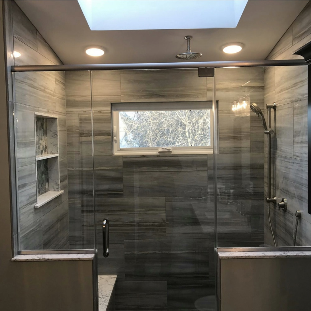 grey tile shower